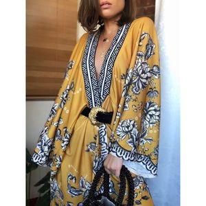 Sweaters - 🆕Kaya Mustard Yellow Floral Kimono Cardigan
